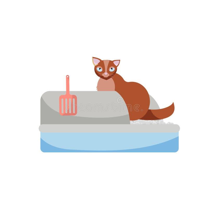 Chat se reposant dans la poubelle Image de Clipart Kitty qui se repose dans un plateau de litière du chat Chat dans la toilette S illustration stock