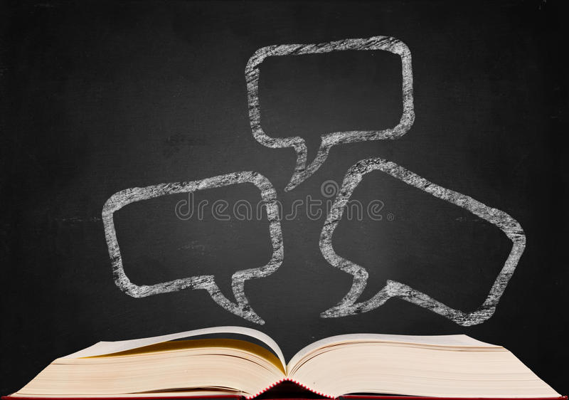 Chat sign on blackboard. Popup from book stock illustration