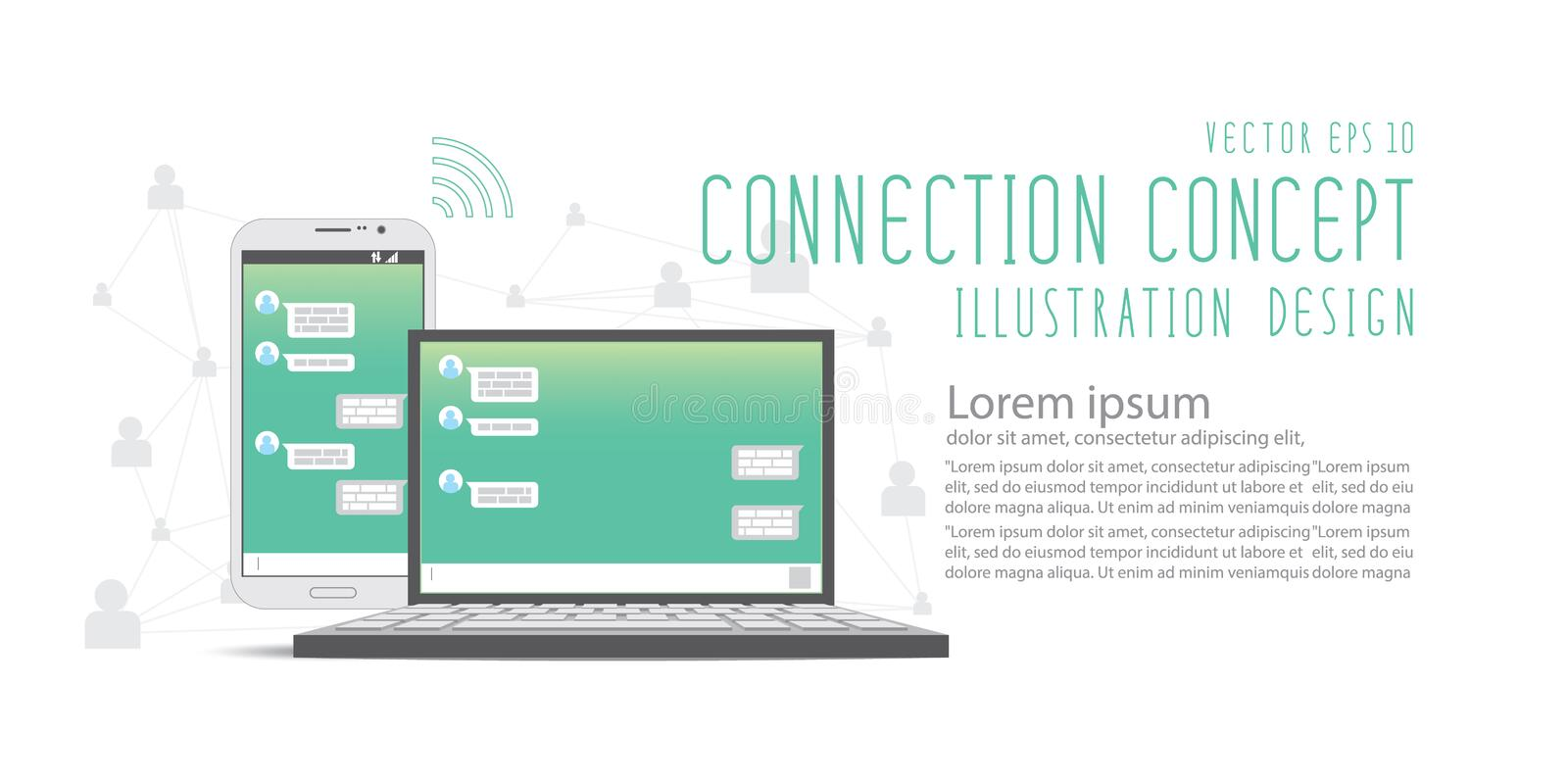 Chat with social network application by mobile phone and laptop stock illustration