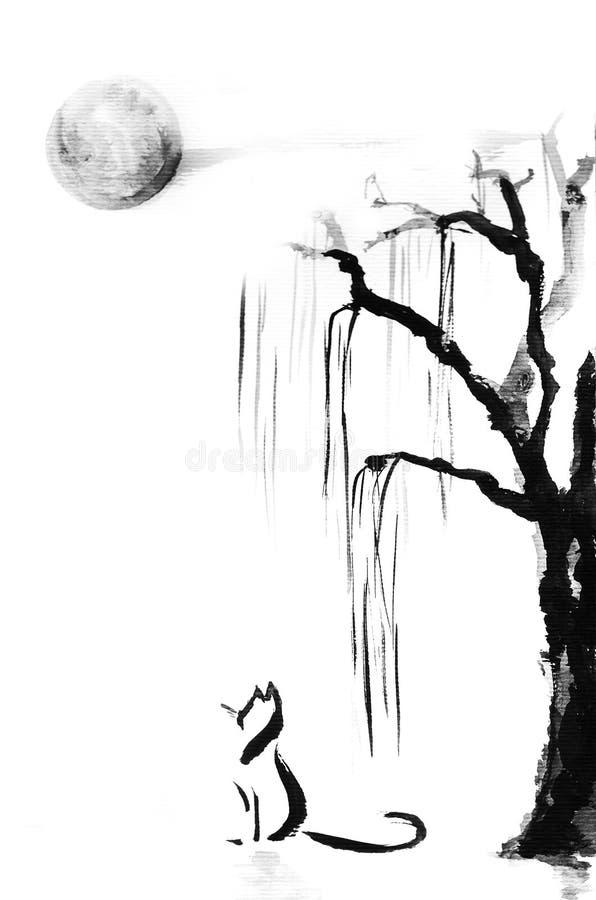Chat sous l'arbre illustration stock