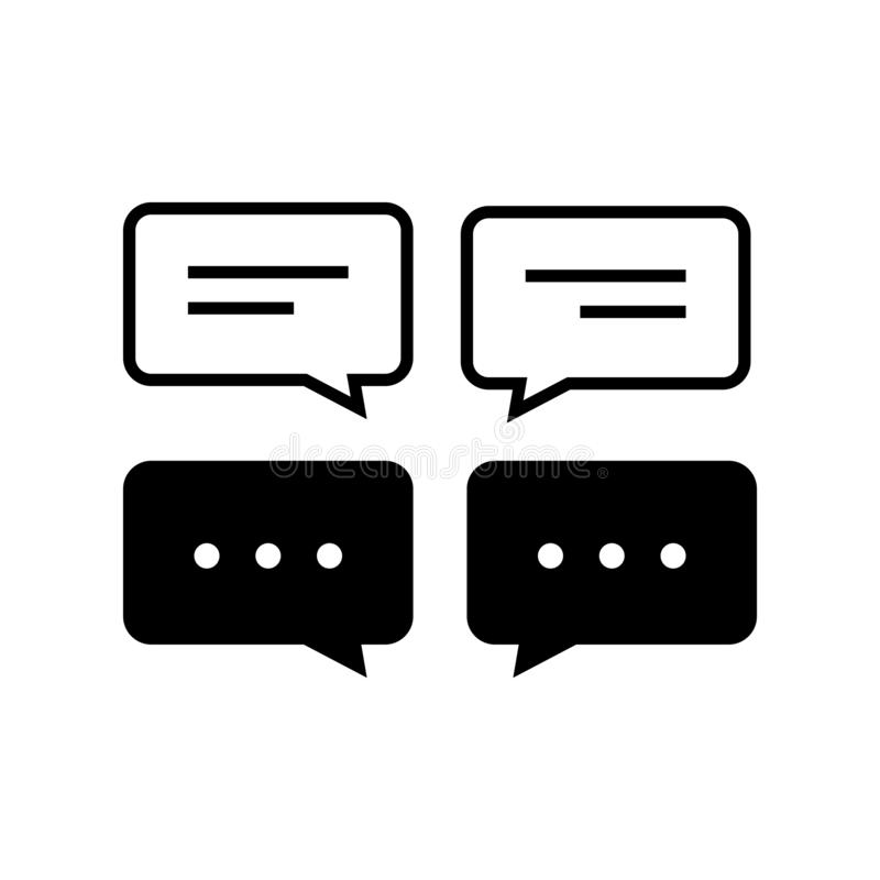 Chat and Speech Bubble Iicons Set on White Background royalty free illustration