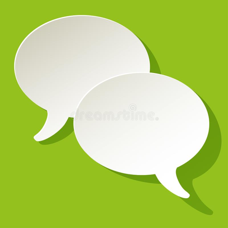 Chat speech bubbles ellipse vector white on a green paper background. vector illustration