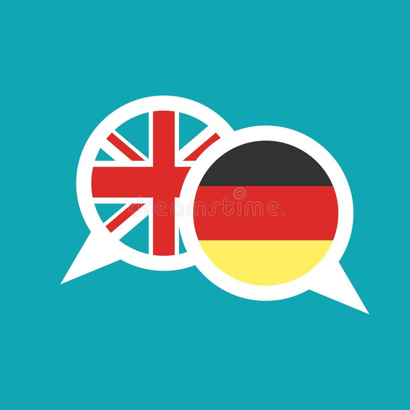 Chat speech bubbles with english and german flags isolated on blue background. Vector flat icon. communication, education picture. Learn, study language icon stock illustration