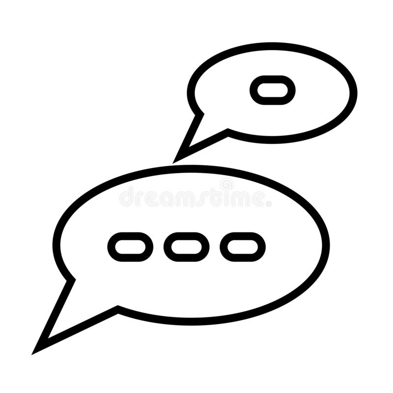 Chat speech bubbles icon vector sign and symbol isolated on white background, Chat speech bubbles logo concept royalty free illustration