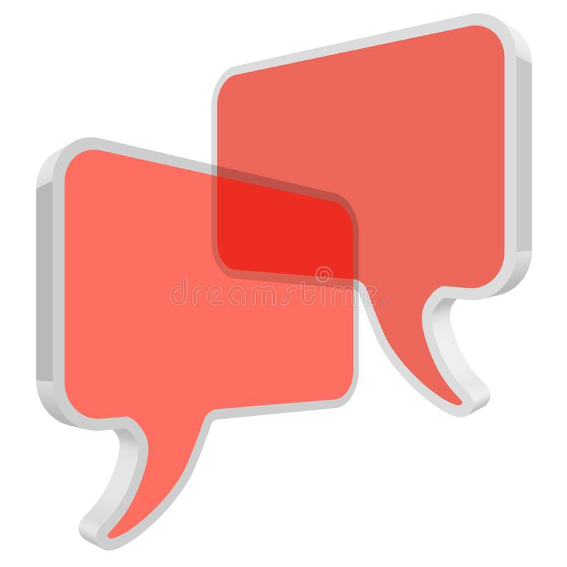 Chat speech bubbles in perspective vector Coral color transparent on a white background royalty free illustration