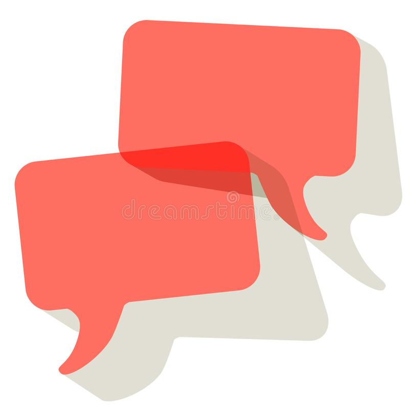 Chat speech bubbles vector Coral color transparent on a white background stock illustration