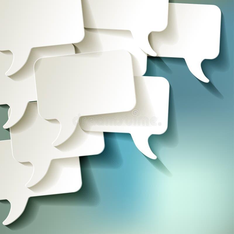 Chat speech bubbles vector white on blue bokeh background vector illustration