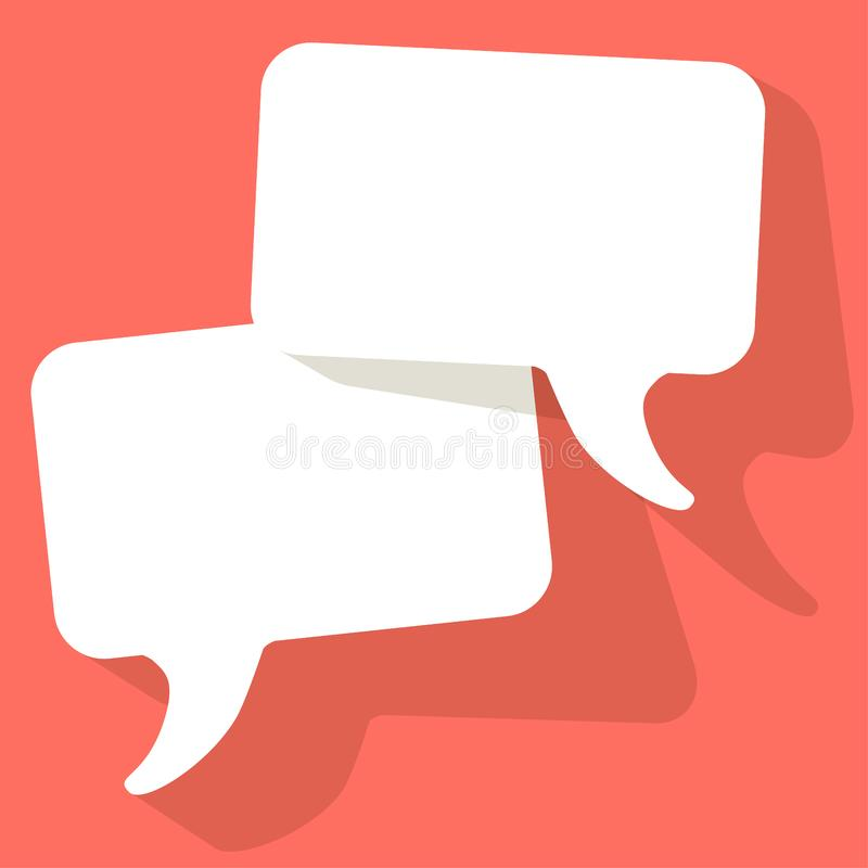 Chat speech bubbles vector white on a Coral color background.  royalty free illustration
