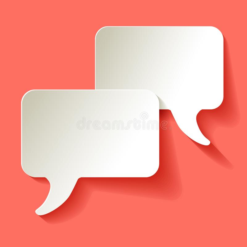 Chat speech bubbles vector white on a Coral color background royalty free illustration