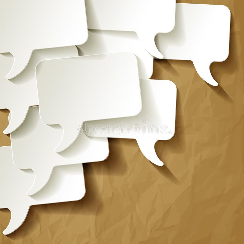 Chat speech bubbles vector white on crumpled paper brown background stock illustration