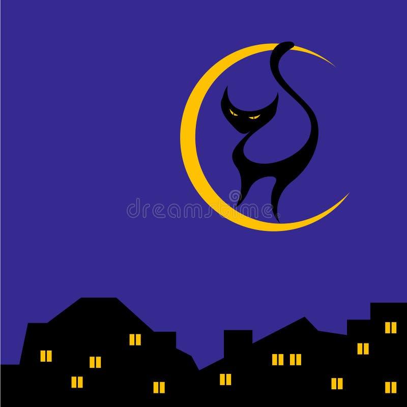 Chat sur la lune image libre de droits