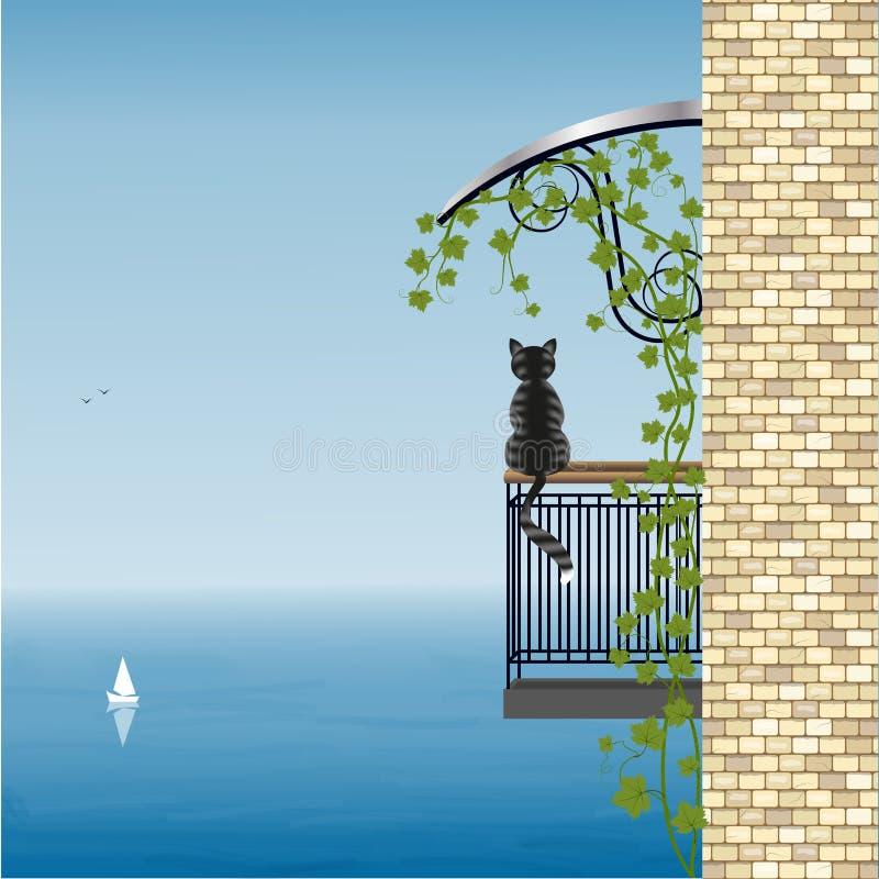 Chat sur le balcon illustration de vecteur
