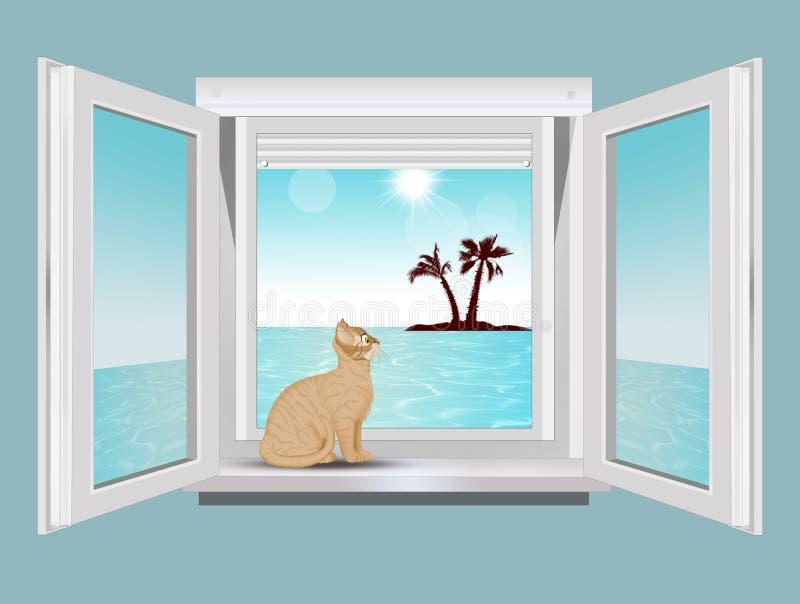 Chat sur les regards de rebord de fenêtre à la mer illustration stock