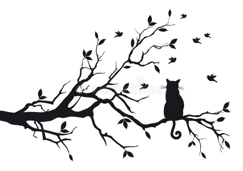 Chat sur un branchement d'arbre illustration stock