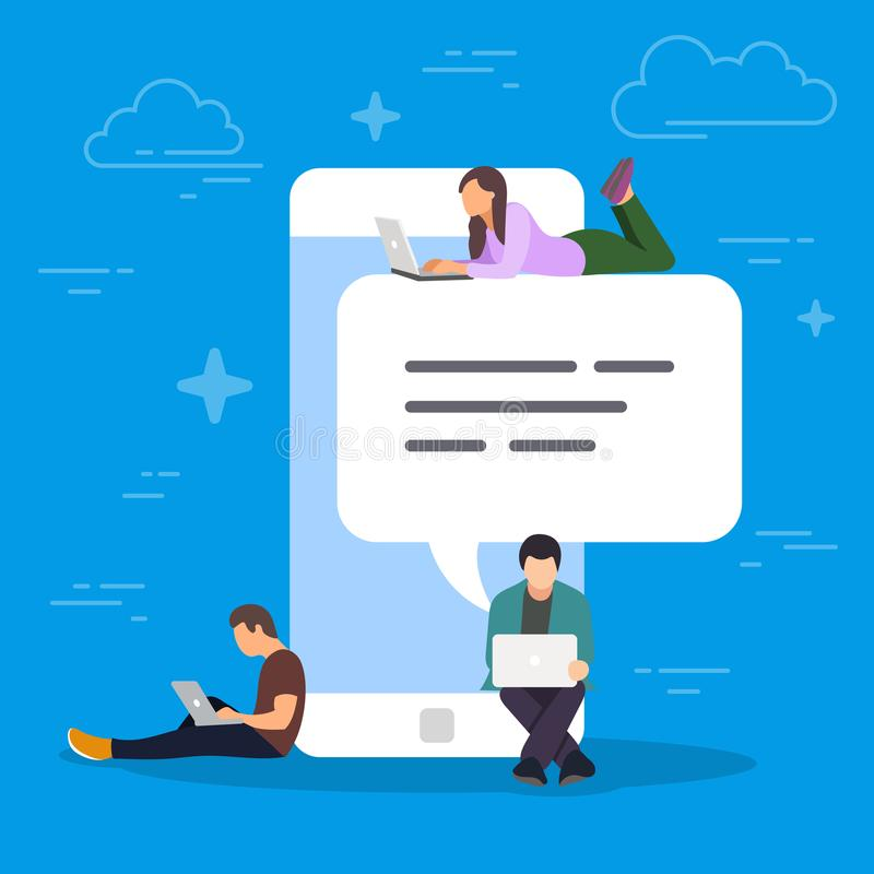 Chat talk concept illustration. Young people using mobile smartphone for sending messages to each other. Flat design of. Guy and woman standing near big vector illustration