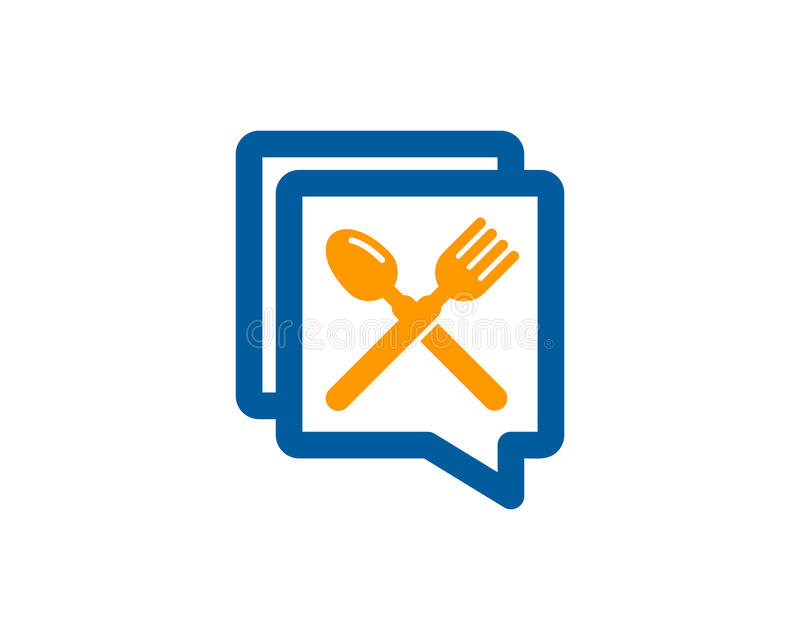 Chat Talk Food Icon Logo Design Element stock illustration