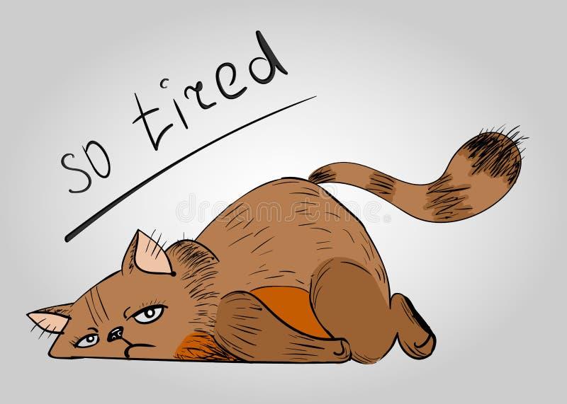 Chat tellement fatigué, chat sur le ¾ r de floÐ illustration stock