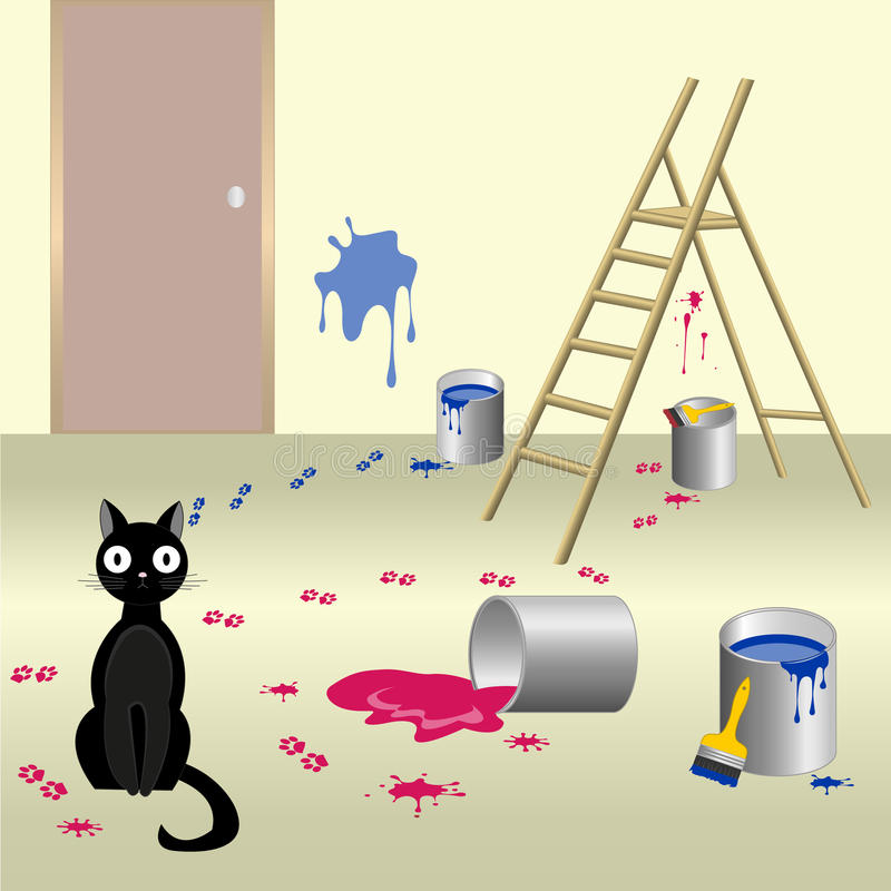 Chat vilain 6 illustration libre de droits