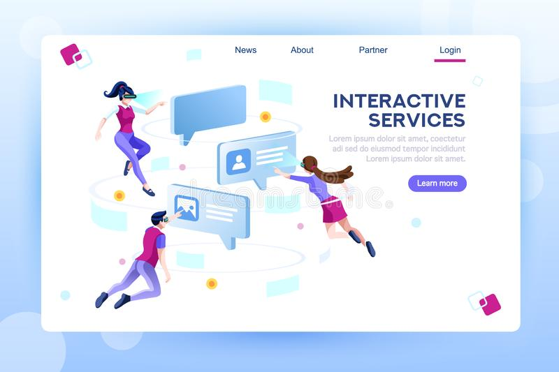 Chat Virtual World Concept Web Page Template stock illustration