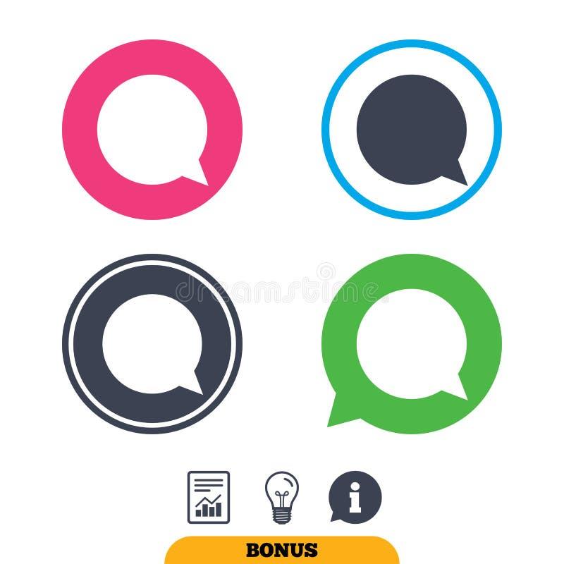 Chatblase mit Menschen Runde bunte 11 Knöpfe lizenzfreie abbildung