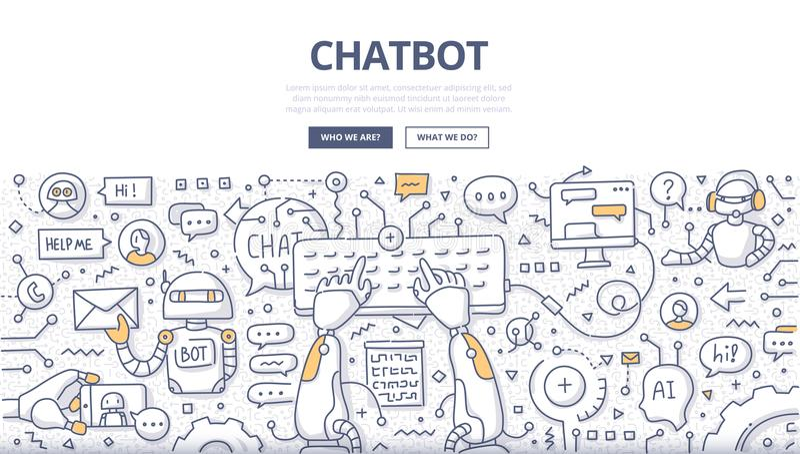 Chatbot乱画概念 向量例证
