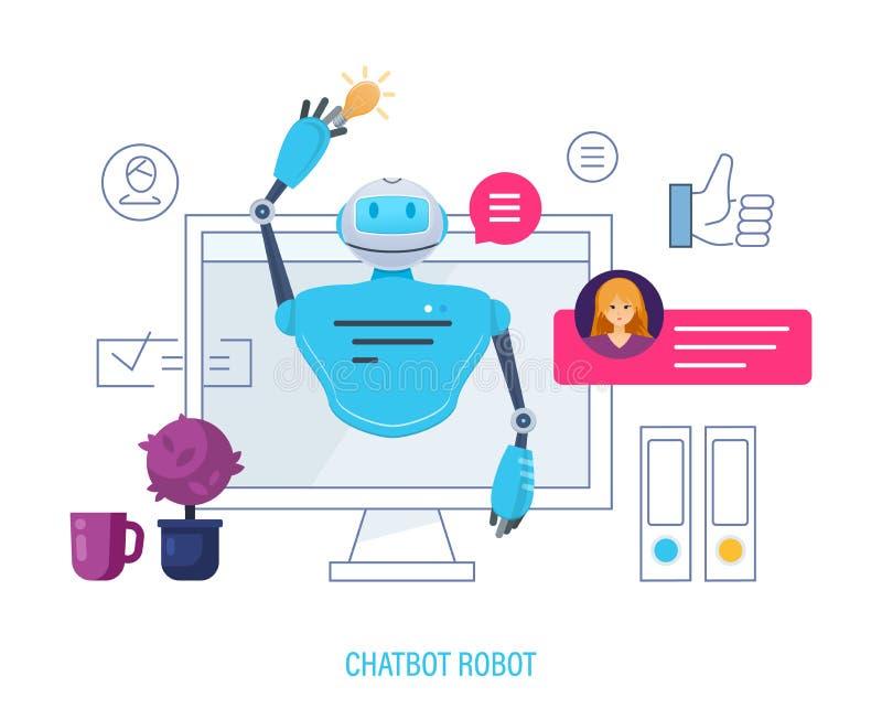Chatbot机器人,人工智能 聊天与在应用的chatbot的用户 库存例证