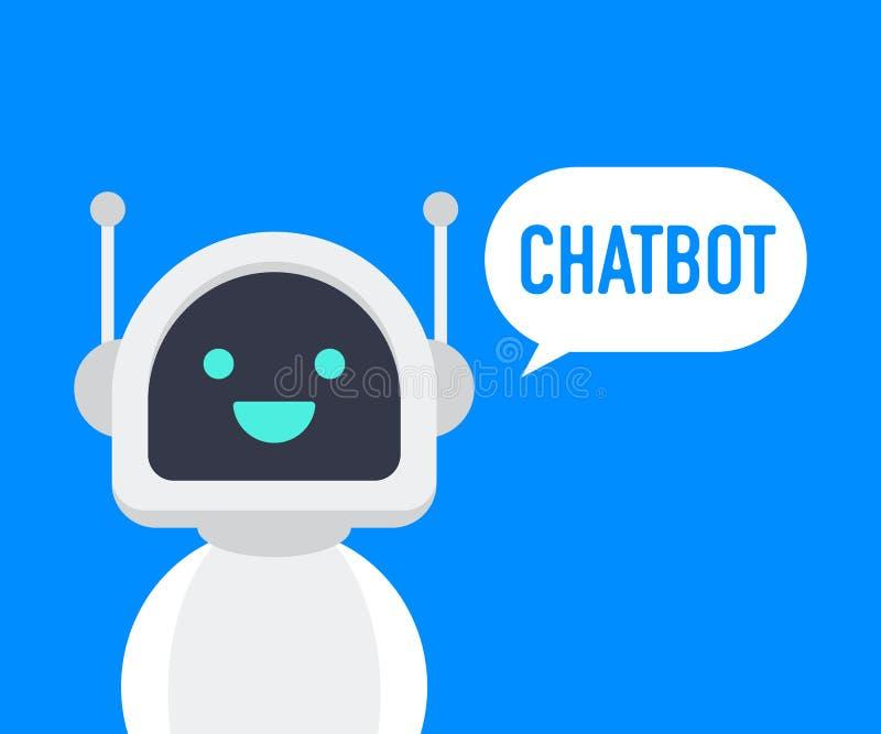 Chatbot象 逗人喜爱的微笑的机器人,闲谈马胃蝇蛆说喂 传染媒介现代平的漫画人物例证 声音支持服务马胃蝇蛆 向量例证