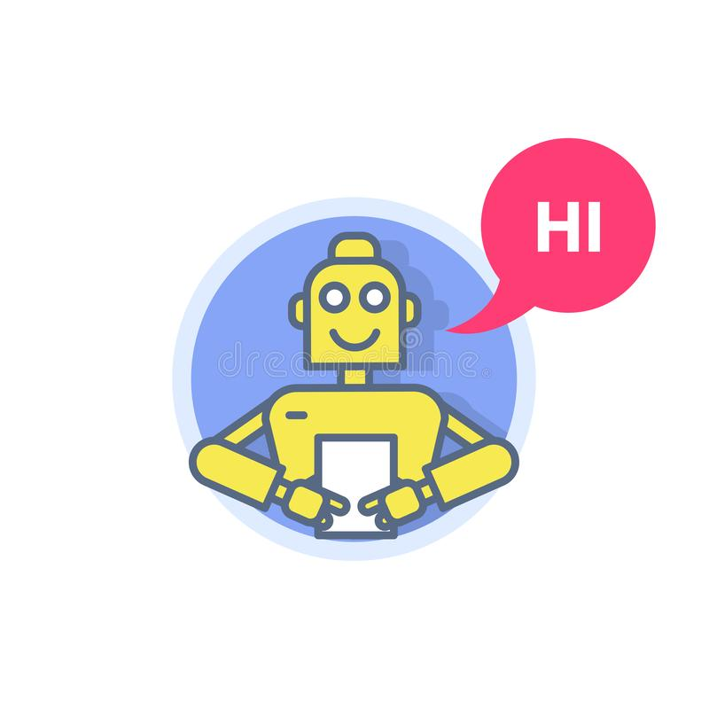 Chatbot - ρομποτική συσκευή με φύλλο λίστας, εικονικός βοηθός απεικόνιση αποθεμάτων