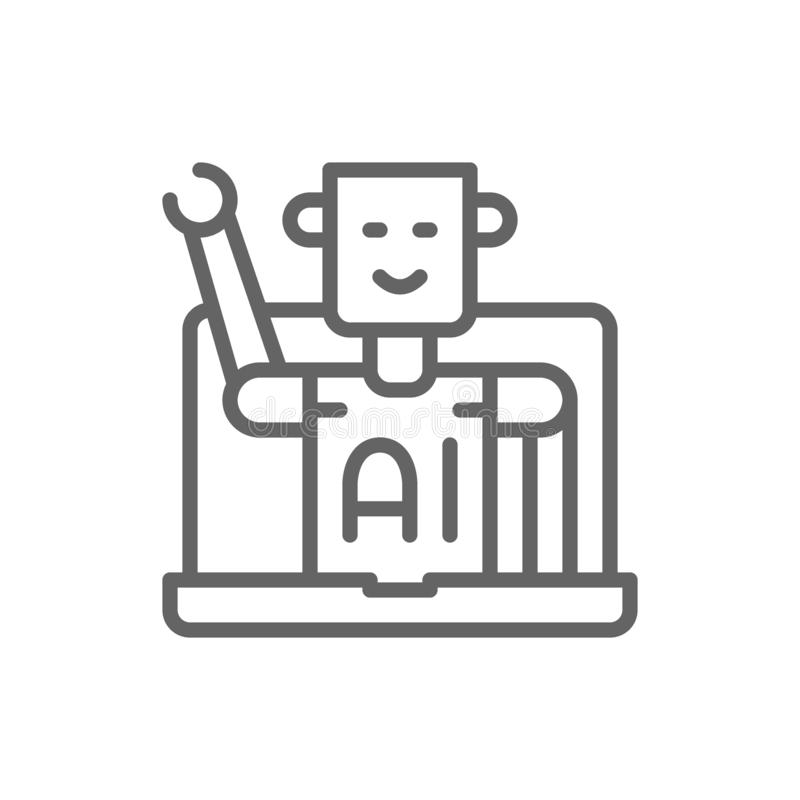 Chatbot, ρομπότ εξυπηρέτησης πελατών, εικονίδιο γραμμών τεχνητής νοημοσύνης ελεύθερη απεικόνιση δικαιώματος