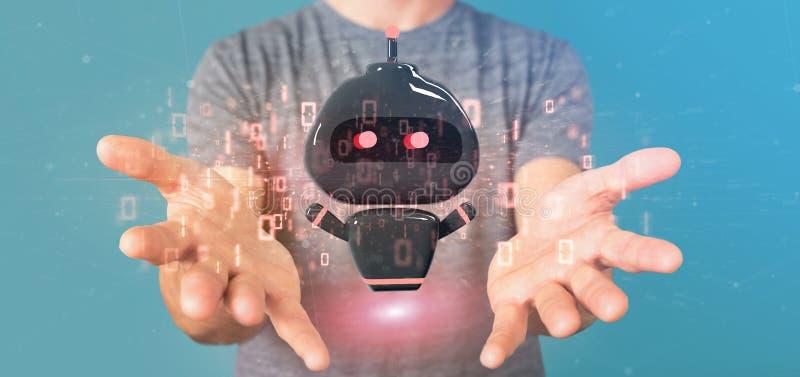 Chatbot вируса удерживания бизнесмена с переводом бинарного кода 3d стоковое изображение