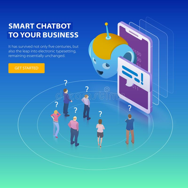 Chatbot и будущая концепция маркетинга Плоская равновеликая идея проекта 3d Люди просят вопросы chatbot Жулик дела Chatbot иллюстрация штока