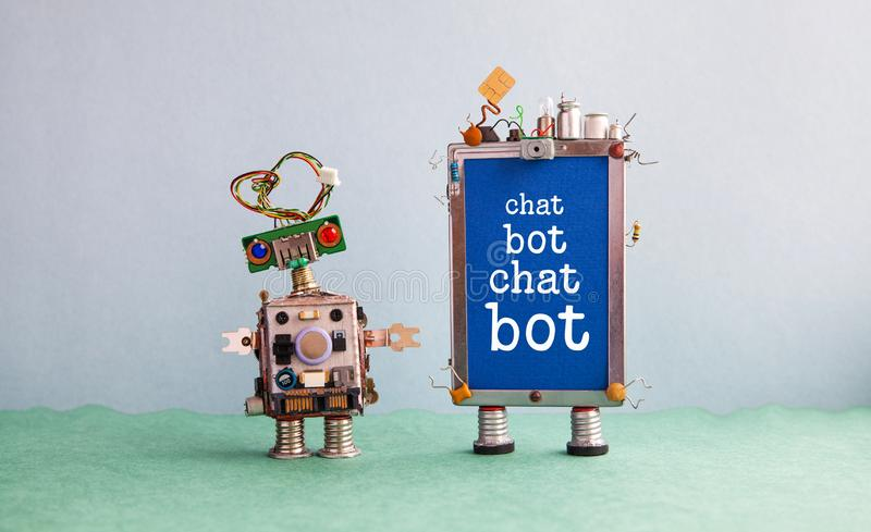 Chatbot artificial intelligence poster. Creative design robot and smartphone gadget with message Chat Bot on blue screen royalty free stock image