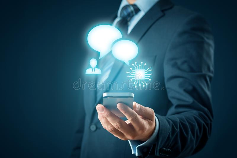 Chatbot smart phone artificial intelligence stock photos