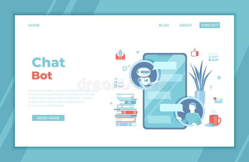 Chatbot, atención al cliente, servicios de la ayuda Hombre que charla con bot de la charla por el uso del teléfono Inteligencia a stock de ilustración