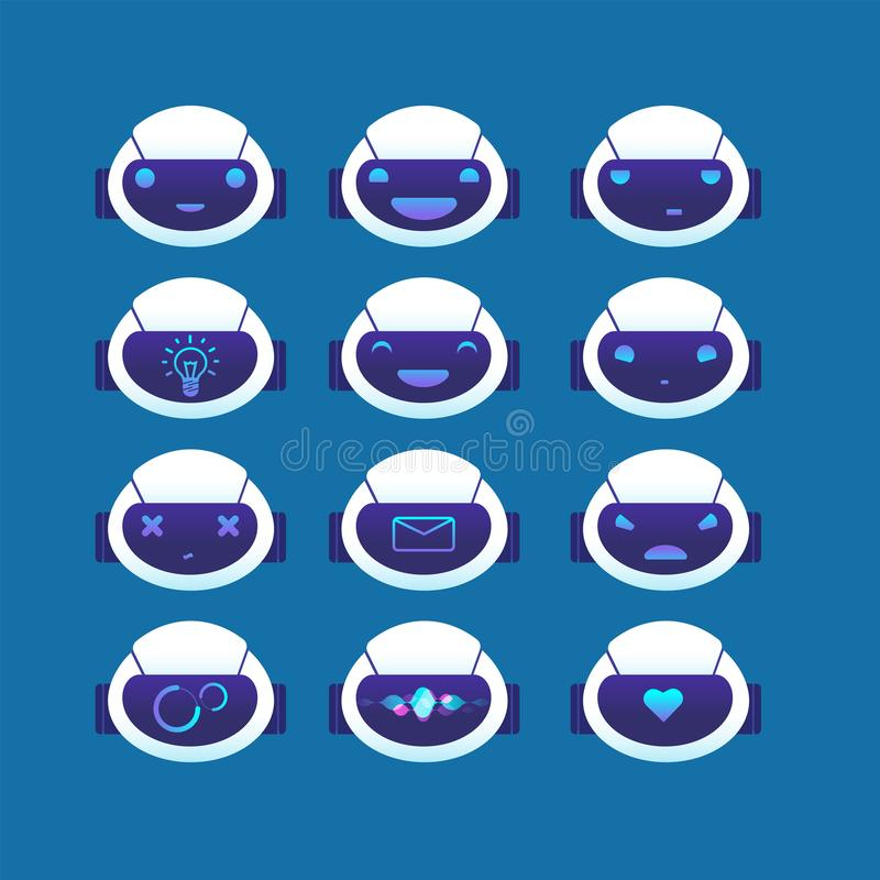 Chatbot avatar. Chat bot head with different emotions and symbols on face. Ai chatbots vector set stock illustration
