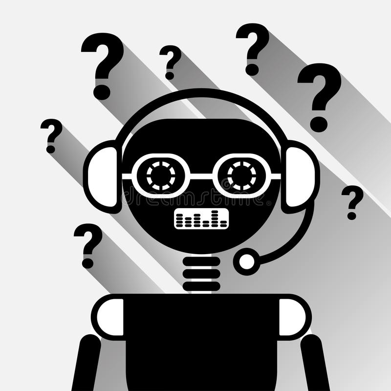 Chatbot avec le Bot de Mark Icon Concept Black Chat de question ou le service de Chatterbot de la technologie en ligne de soutien illustration de vecteur