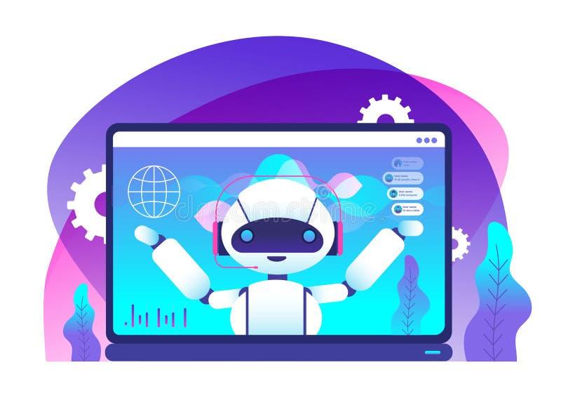 Chatbot begrepp Ai-roboten råder klienter Heta linjenkundtjänst Faktisk service och mobil hjälpvektor stock illustrationer