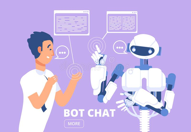 Chatbot begrepp Man som pratar med pratstundbot Illustration för kundsupporttjänstvektor royaltyfri illustrationer