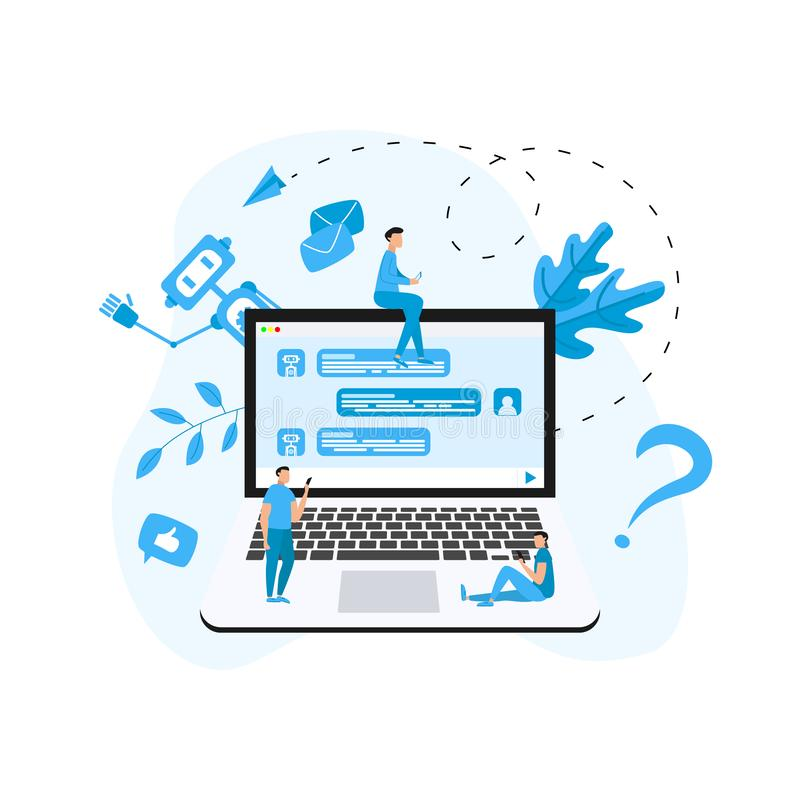 Chatbot business concept. Communication with chatbot. Artificial intelligence in customer support royalty free illustration