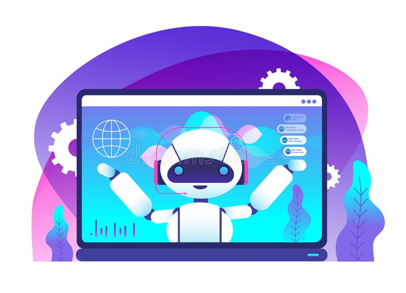 Chatbot concept. Ai robot advices clients. Hotline customer service. Virtual support and mobile assistance vector stock illustration
