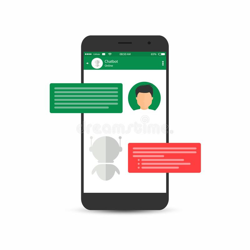 Chatbot concept. Man is asking question to chatbot. User icon and virtual assistant icon chatting royalty free illustration