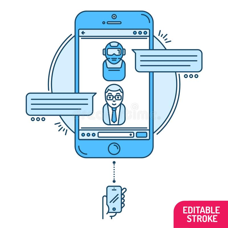 Chatbot concept. Man chatting with chat bot on smartphone. Flat design style modern vector minimalistic illustration concept for b stock illustration