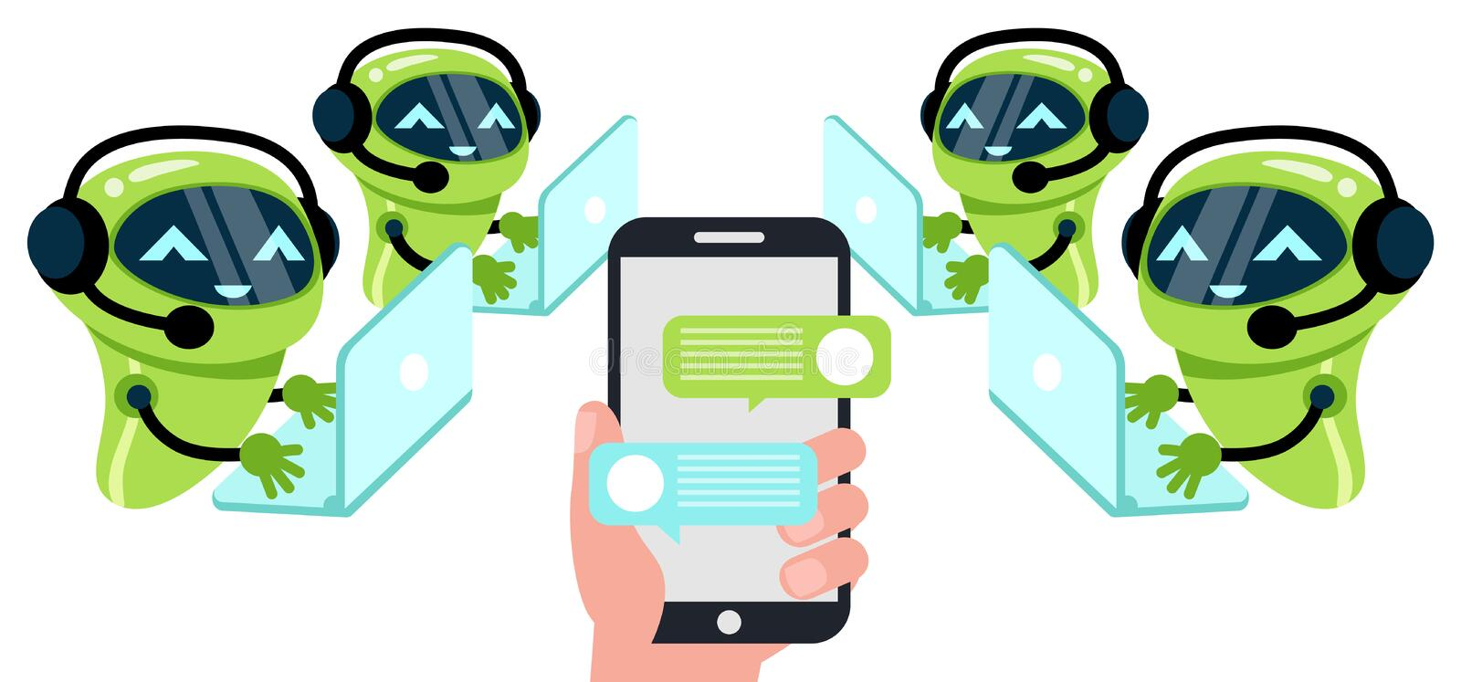 Chatbot concept. Man chatting with chat bot on smartphone. Vector modern flat cartoon character illustration. vector illustration
