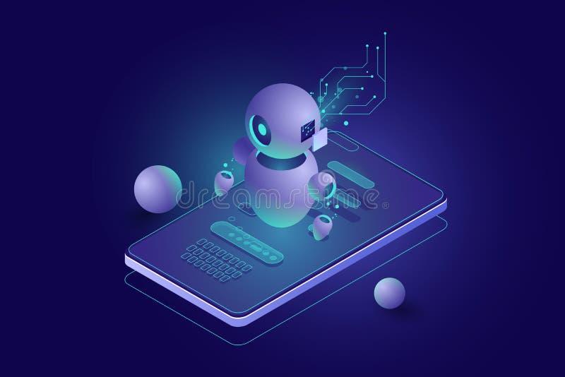 Chatbot concept, personal helper, machine learning, Isometric artificial intelligence, digital marketing dark neon vector illustration