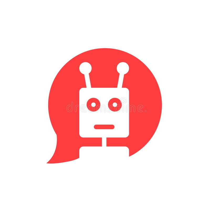 Chatbot dans la bulle rouge de la parole illustration de vecteur