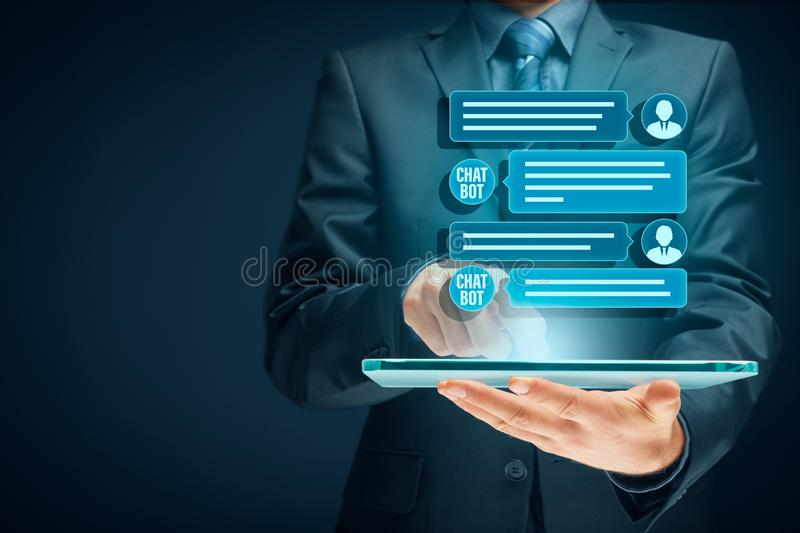Chatbot digital tablet artificial intelligence communication royalty free stock images