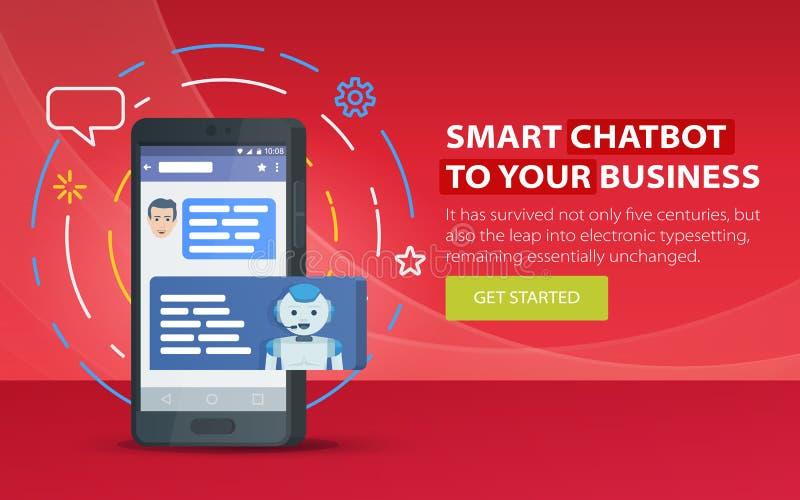 Chatbot e conceito futuro do mercado Bandeira moderna para o local Caixa de diálogo do telefone celular Conceito do negócio de Ch ilustração stock