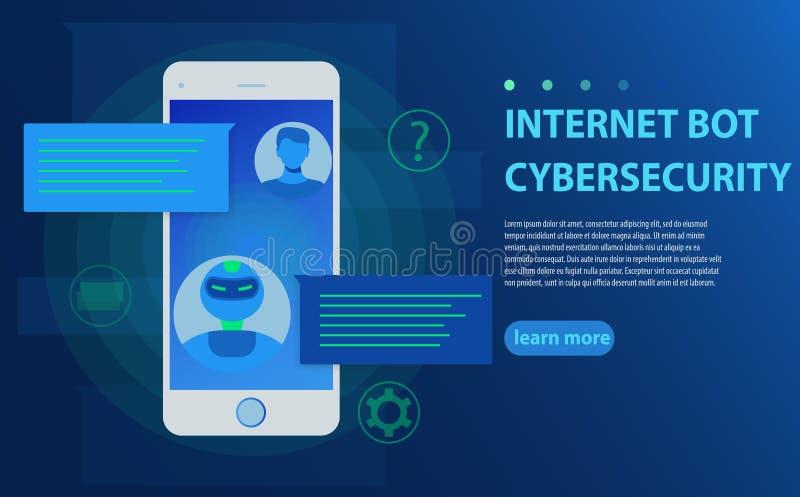 Chatbot e concetto futuro di vendita Persona che chiacchiera con il bot di chiacchierata nell'illustrazione di vettore del telefo royalty illustrazione gratis