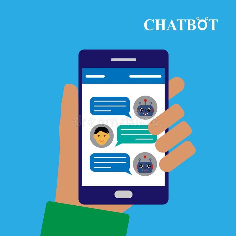 Chatbot e conversação humana no smartphone ilustração royalty free