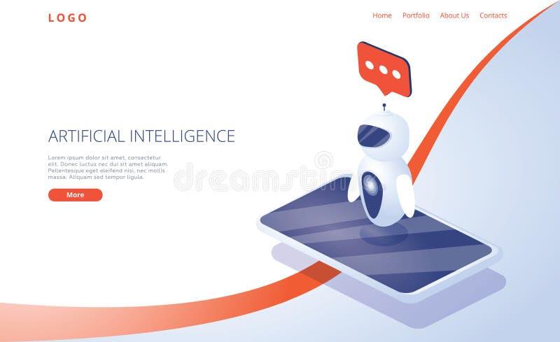 Chatbot eller n?tverksbegrepp f?r konstgjord intelligens i isometrisk vektorillustration Neuronet ai-teknologibakgrund stock illustrationer